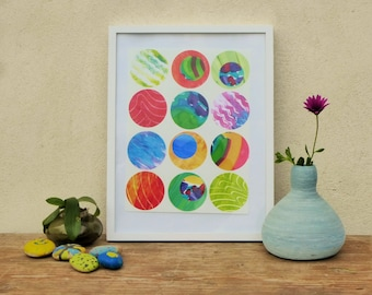 multicolored 9,abstract painting, geometrical pattern, collage, circles