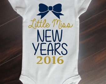 Little Miss New Years 2017 Baby Girl Bodysuit