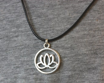 Lotus Pendant Necklace - Zen - Wax Cord or Silver Chain available