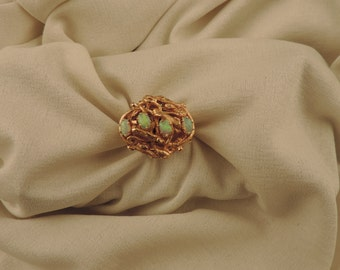 Ring-14 k gold watch and Opal noble signed Benat