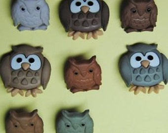 SET of 8 Shank Owl Sewing Button Collection