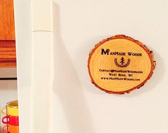 Your Custom Image Magnet Natural Wood Fridge Coaster