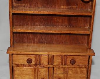 Vintage Handmade Wooden Miniature Dollhouse Hutch / Panty