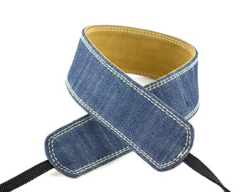 "Camera Strap Blue Jean Denim & Leather 2"" Wide Quick Release - Handmade For DSLR And SLR Cameras"