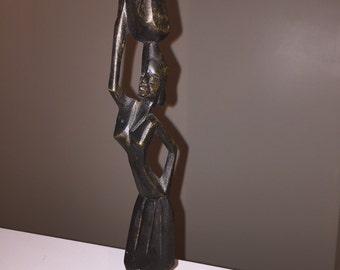 Vintage Wood Carved African Woman w/Basket Statue