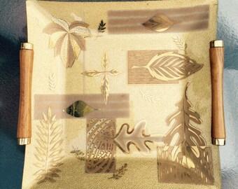 Vintage Mid Century Gold Glass Decorative Tray / Retro Home / Retro Glass Tray / Vintage Gold Colony Glass Tray