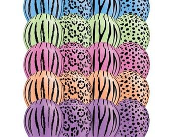 10 Pack Neon Safari Animal Print  Assorted Latex Balloons