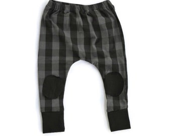 GRAY~ Buffalo Plaid Harems Leggings with Knee Patches