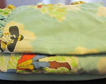 Vintage McDonalds' Twin Bed Sheets Set Flat Sheet Fitted Sheet Ruffled Pillow Case Ronald McDonald Grimace Hamburger Fabric Craft