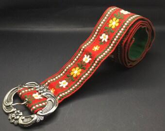 "Vintage Austrian Embroidery Fabric Belt Edelweiss Flowers Flowe  Silver Tone Buckle Medium Size Women 37 3/4 ""  Boho Folk Boho Chic"