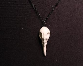 Raven Skull Gothic Bone Necklace