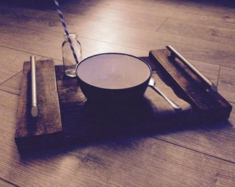 Rustic Wooden Handled Serving Tray 400 x 210mm Handmade from Reclaimed Pallets