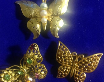 Set of 3 1970's Butterfly Pin Brooches