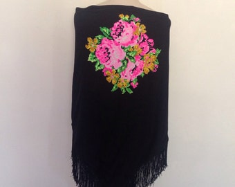 1970's Polyester Roses Shawl
