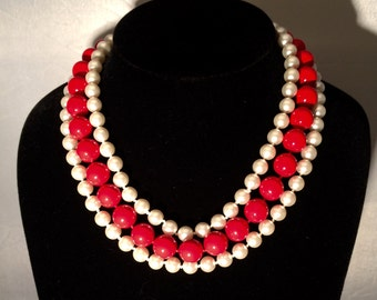 Coral and pearl triple strand necklace