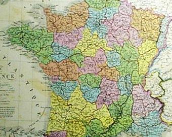 Carte de la France by A. Brue Old Map Print Reproduction