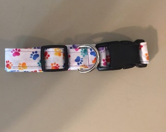 Cute Adjustable Dog Collar  with colorful Puppy Paws
