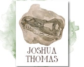 Personalized Boy's Name Printable Art, Nursery Decor Dinosaur Fossil, Gender Neutral Baby Name Customized Print, Pretty + Paper Digital File