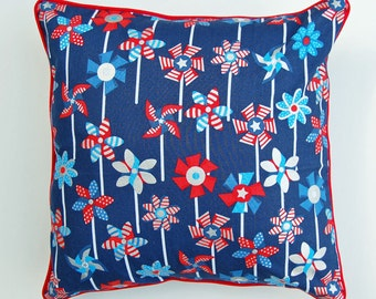 Pinwheel throw pillow patriotic red white blue Fourth of July Independence Day USA