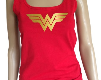 """Womans """"Wonder woman"""" tank top with shiny gold logo. Amazing!"""