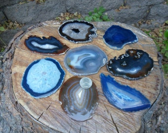 """2 pc Large Agate Geode Slice, Dyed and Natural, From Brazil, 3""""-5"""""""