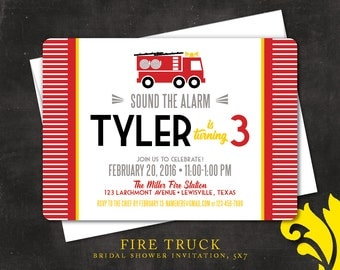 FIRE TRUCK .  birthday invitation