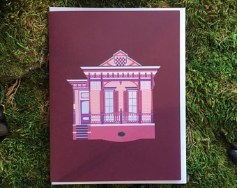 New Orleans Greeting Card, Pink Ornate Marigny Bywater Queen Anne/ Eastlake Style House, Architecture Louisiana