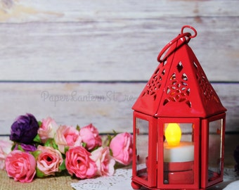 "4.75"" Red Hampi Hurricane Candle Lantern - CDL12-RD"