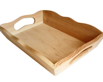Plain Wood - Small Wooden Serving Tray - Decoupage