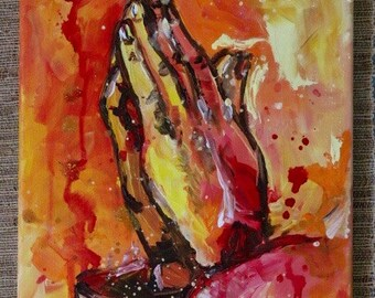 Praying Hands Acrylic Painting by Olivia Rose Art