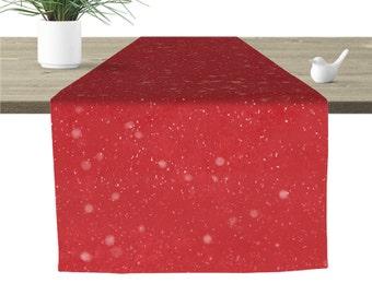 """Snowfall Table Runner Red 16x90"""""""