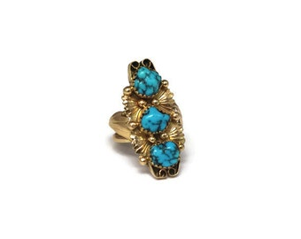 CYBER MONDAY SALE - Navajo inspired turquoise and gold ring - 1970s - 14k