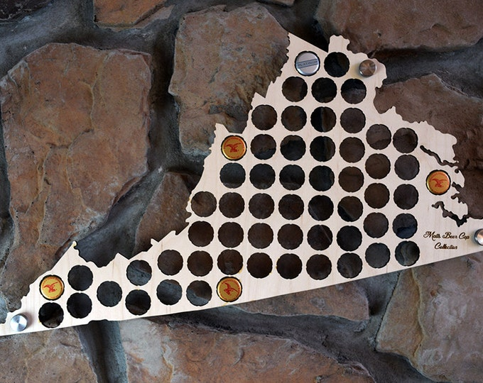 Personalized Virginia Beer Cap Map Perfect For Virginia Pubs Man Caves or Groomsman Gifts
