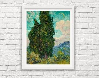 Van Gogh Print - Vincent Van Gogh - Cypresses - 1889  Impressionist Painting - Painting Print - Giclee Print - Van Gogh Art