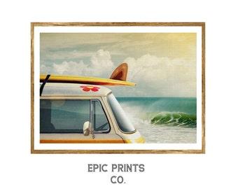 Surfer Van Print, Minimalist Wall Art Decor, Nautical Decor, Outdoor Printable Art, Instant Download Nature Print, Travel Decor, Surfer Art