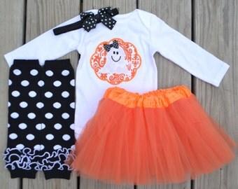 Halloween girly ghost bodysuit, tutu skirt, ruffled leg warmers, and headband with bow