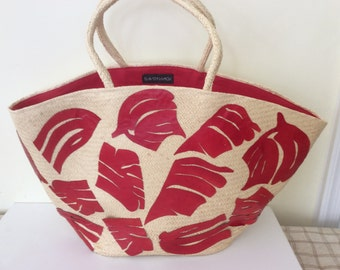 Oversized UNUSED panama straw beach bag with red leather motifs. Red natural extra large straw pool bag. Stylish straw bag. Straw beach bag