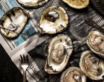 Food Photography, Seafood Kitchen Decor, Oysters, Kitchen Decor, Restaurant Decor, Wall Art, Home Decor, Seafood, Still Life Photography