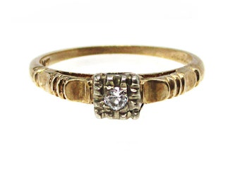 Estate 14K Yellow Gold 1930's .08 Carat European Cut Diamond Ring Size 6.5