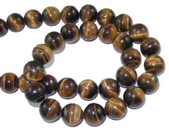 Lot de 6 perles oeil de tigre rondes naturelles 10 mm