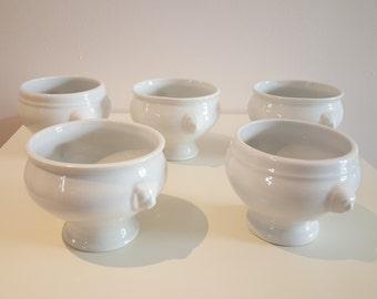 Bowl white porcelain , onion soup bowl , white porcelain vintage