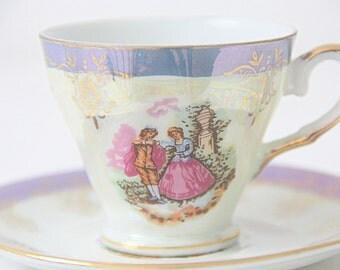 Vintage Porcelain  Demitasse Cup and Saucer, Lavender Rims, Fragonard Scene, Versailles France