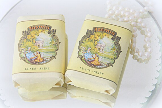 Two Bars of Vintage Jasmin Soap, Lovely Package!