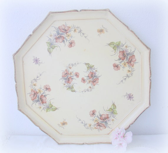 Large Vintage French Octagon Shaped Wooden Serving Tray, Flower Decor