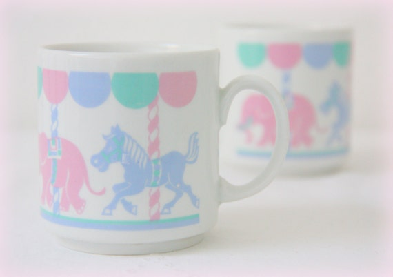Set of Two Sweet Vintage Ceramic Child Mugs/Cups, Carousel Decor, Eversberg, Made in West-Germany