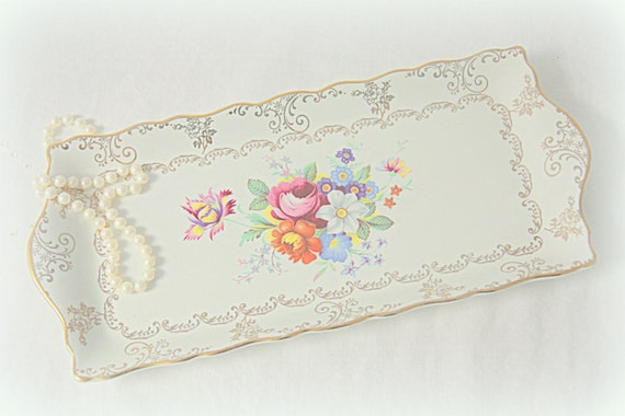 Beautiful Vintage Old Foley Cake Plate/Biscuit Tray, Multicolor Flower and Gold Decor, England