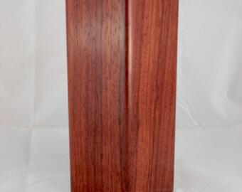 padauk square wood vase