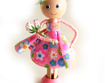 SALE Clothespin Doll with Flowers, Wood Doll, Cake Topper