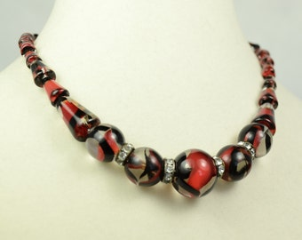Art Deco Glass Beaded Necklace with Rhinestone Spacer Beads