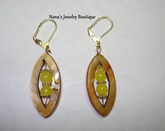 Mother of Pearl Dangle Earring with Lemon Yellow Glass Beads